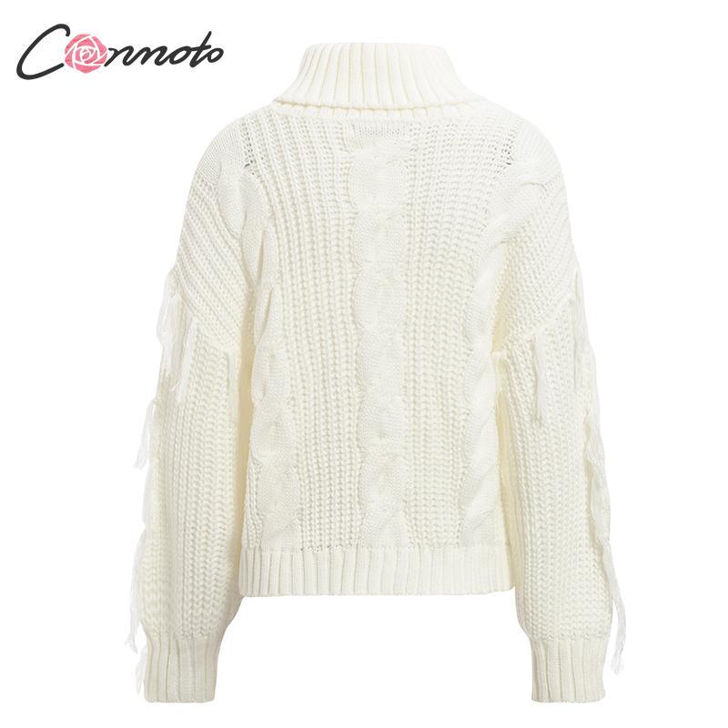 Conmoto Solid Deep Gray Casual Women Sweaters 19 Winter Turtleneck Knitwear Sweater Oversized Tassel Knitted Pullovers Jumpers 15