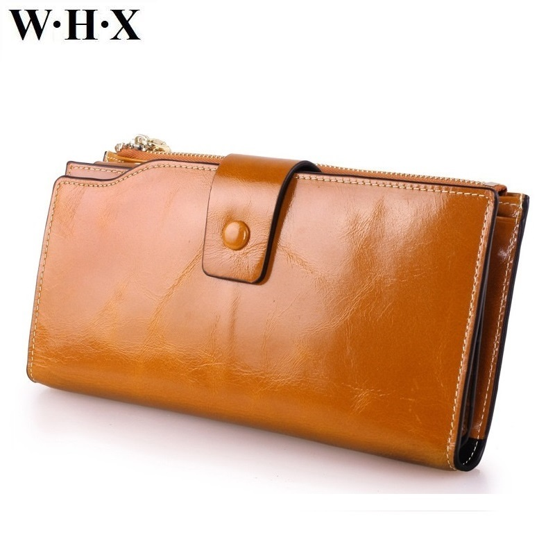 WHX brands New Best Quality Real Cowhide Leather Wallet Women For Girls Long Wallets Female Purse Phone Card Clutch Money Bag 100% wax oil cowhide vintage wallets female money clips real leather clutch wallet for women credit cards change purses 2014 new