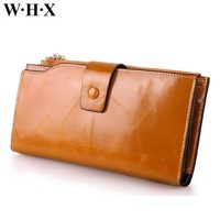 WHX brands New Best Quality Real Cowhide Leather Wallet Women For Girls Long Wallets Female Purse Phone Card Clutch Money Bag