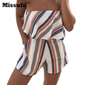 Misufe Colorful Stripe Printed Slash Neck Sleeveless Playsuit Regular Casual Sexy Loose Beach Party Slim Women Jumpsuit