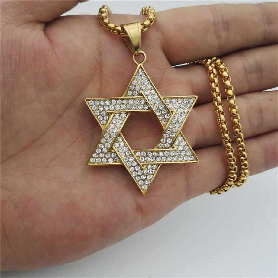 Religious Magen Star of David Pendants Necklace Gold Color Stainless Steel Hexagram Necklace Women/Men Iced Out Jewish Jewelry