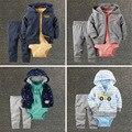 Marca bebê meninos roupas definir jaqueta + romper + calças da menina do menino roupa infantil Primavera roupa do bebê set 3 pcs bebes