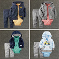 Marca niños bebés ropa set chaqueta + romper + pantalones niño niña Primavera ropa infantil ropa del bebé fijó 3 unids bebes