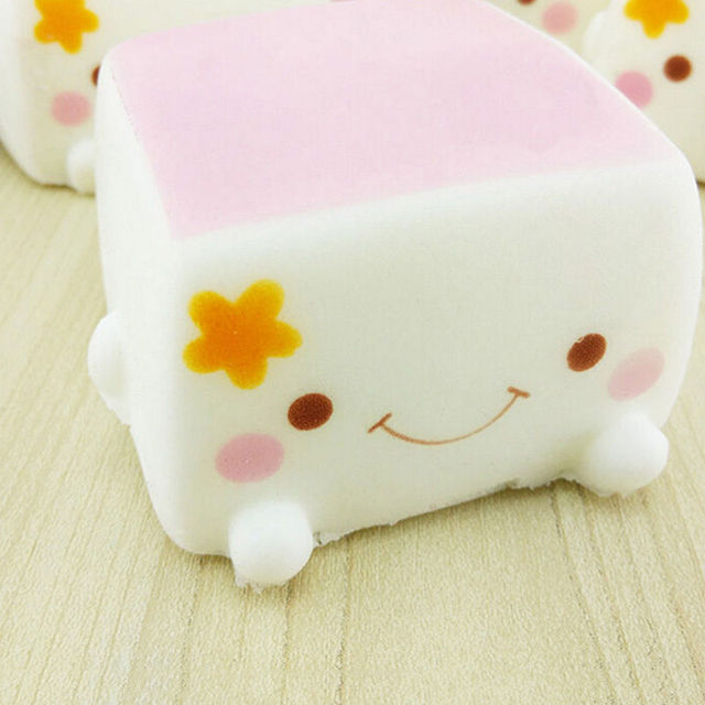 Squishy Foam Toys : 1PCS Random Soft PU Foam Squishy Chinese Tofu Adorable Expression Smile Face Phone Strap Kid ...