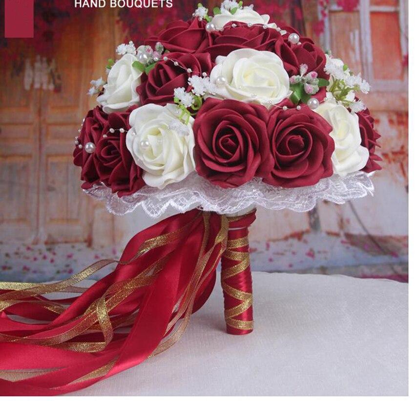 2016 رخيصة الزفاف باقة ورديأحمرأبيضبورجوندي الزفاف وصيفه الشرف