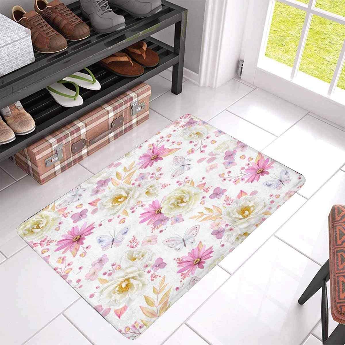 Белые розы, фиолетовый пиретрум спереди дверной коврик Добро пожаловать коврик для дома, в помещении, вход, Кухня, патио