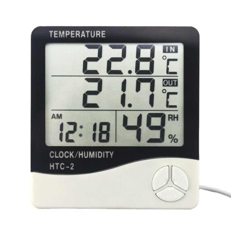 HTC-2 Digital Thermometer Hygrometer Weather Station Temperature Humidity Meter Clock Wall Indoor Outdoor Sensor Probe LCD