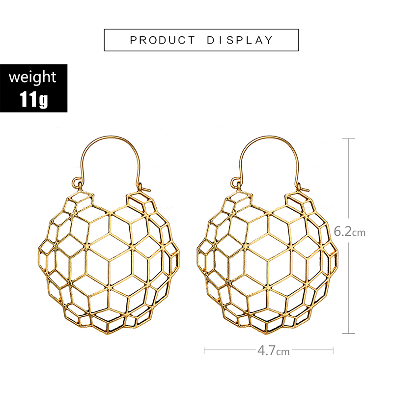 docona Gypsy Gold Silver Wing Triangle Square Drop Dangle Earrings for Women Metal Hollow Geometric Pendant Earrings Pendientes