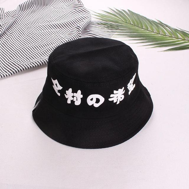 Japan Letter Harajuku Bucket Hat Men Women Fishermen Cap for Outdoor White  Black Blue Funny Hats dd0f6c7e19fb