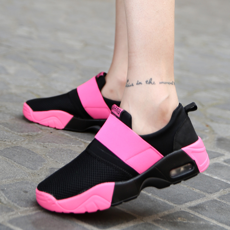 MIUBU Shoes Women Spring Non-Slip Female Autumn Breathable Fashion 35-44 Pink And Black