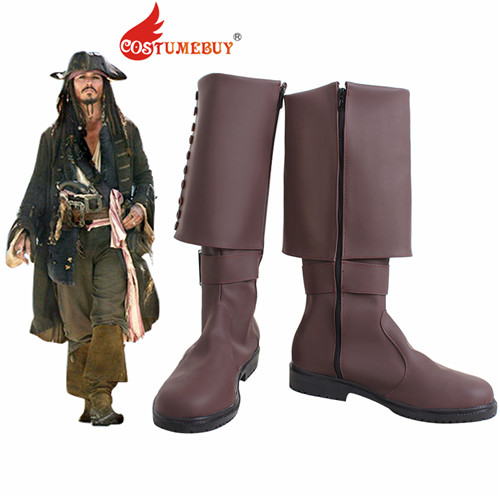 CostumeBuy Movie Pirates of the Caribbean Jack Sparrow Cosplay Costume Boots Adult Winter Halloween Shoes Boots
