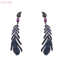 Jonnafe Unique Design Blue Color Luxury Cubic Zircon Drop Stones Women Long Earrings Wedding Prom Jewelry F765