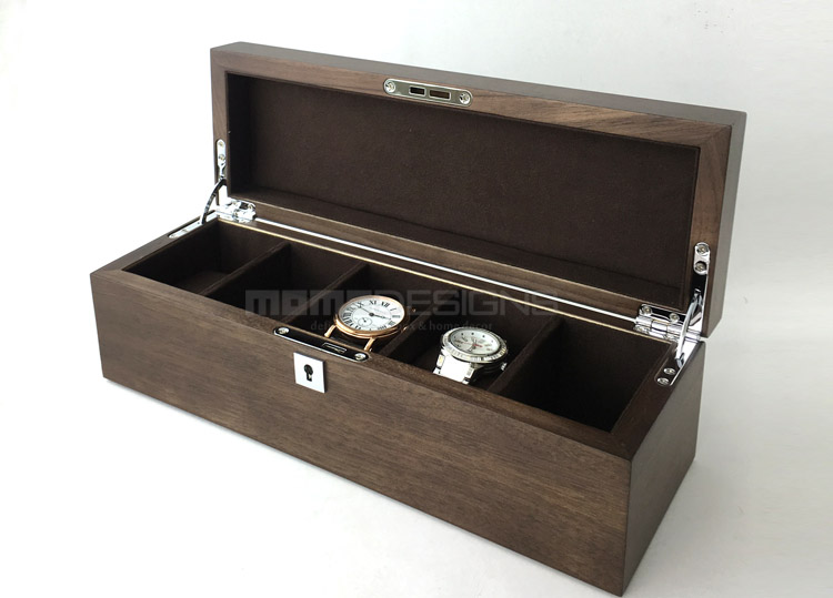 06b8f8951d4 Luxury solid Walnut wood 5 watch box   jewellery storage box