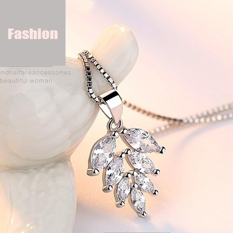 silver zircon pendants necklaces (2)