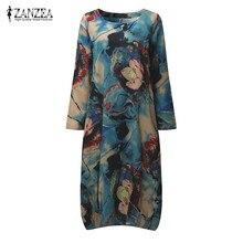ZANZEA Vintage Women Midi Baggy Dress 2017 Loose Round Collar Long Sleeve Pockets Floral Print Elegant
