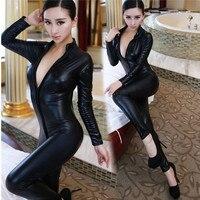 Faux Leather Latex Catsuit Smooth Wetlook Jumpsuit Front Zipper Elastic Black PU Bodysuit Playsuit Sexy