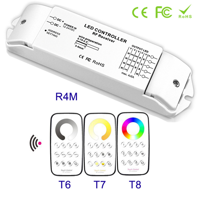 New arrival Constant voltage type Multi-Zone Dimmer Color temperature RGBW Controller LED Receiver 12V 24V  & RF wireless remote