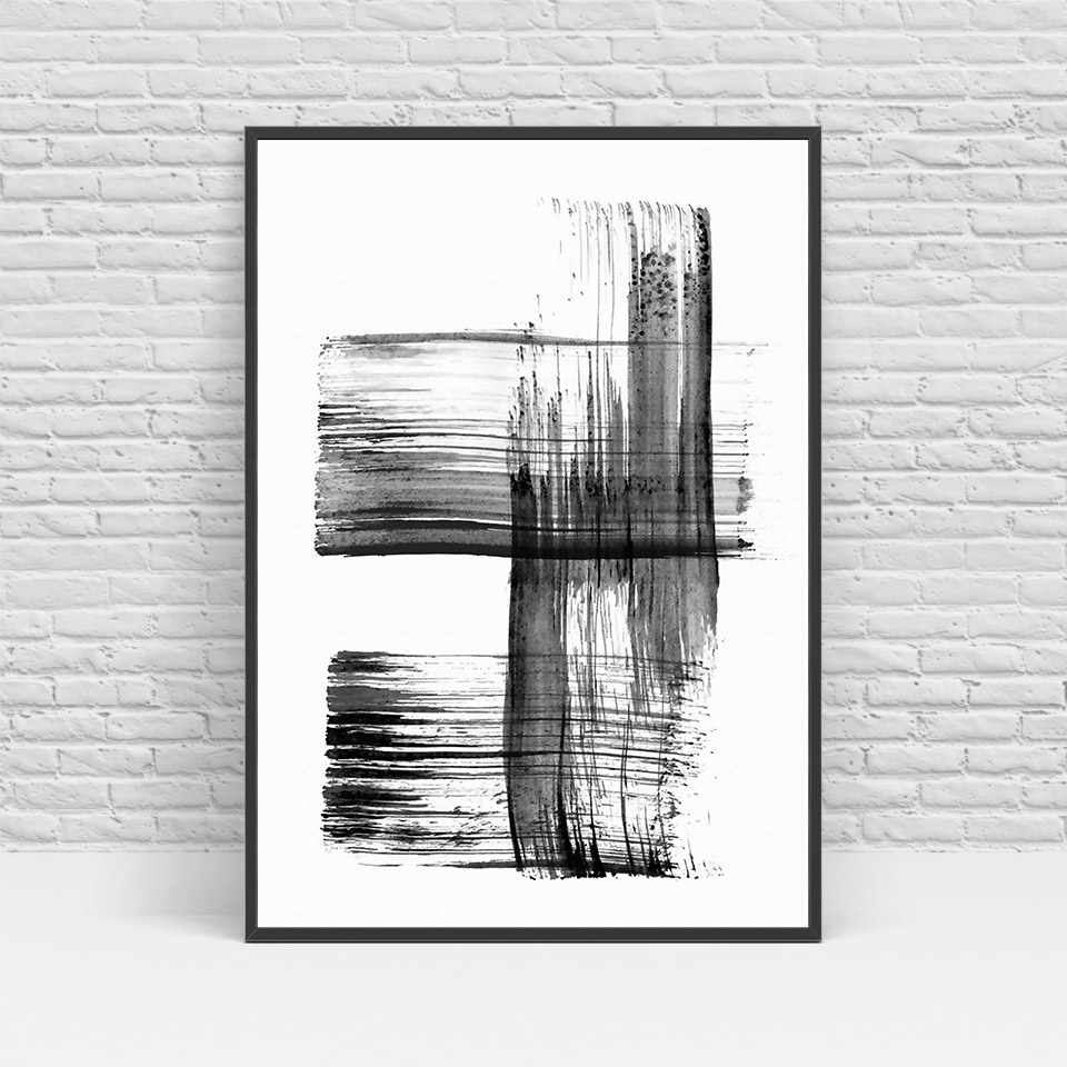 ArtSailing Nordic wall art Gray Abstract Line Simplicity canvas Painting wall pictures For Living room Scandinavian Posters