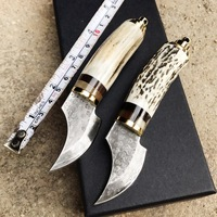Damascus Steel Survival Hunting Knives Antlers Horn Handle Knife Damascus Steel Hunting Camping Knife