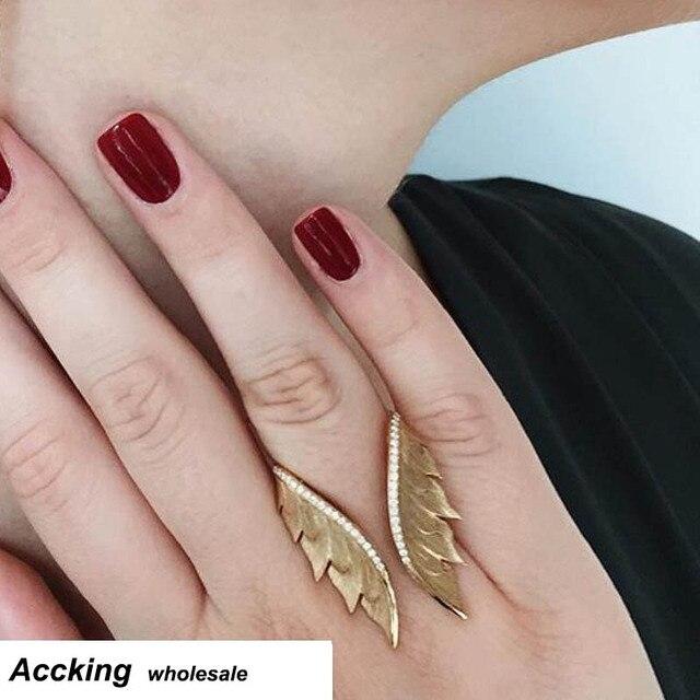2de3941e230e Alas de Ángel AccKing stretch cuff anillo mujeres biker bling joyas antiguas  de oro y plata