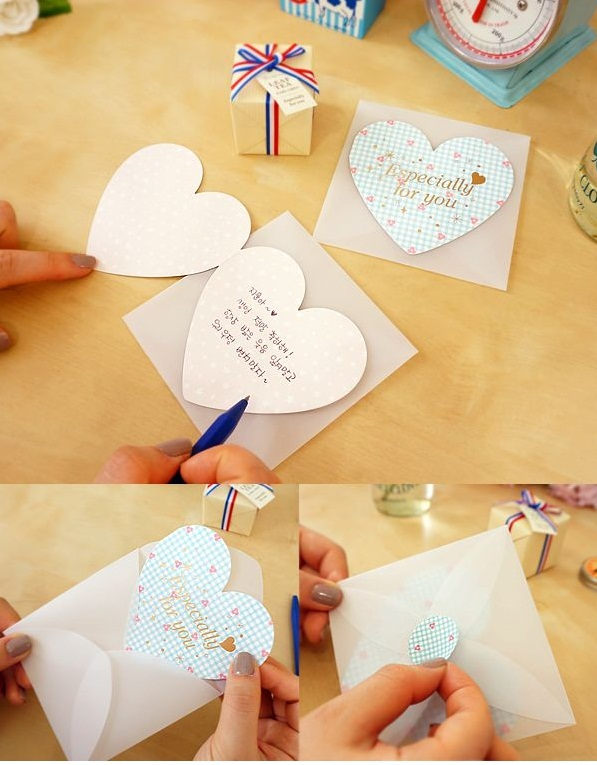 Korean Cute Valentines Heart Shape Love You Card Thanks Card Gift Card Folding Greeting Card with Envelop Tarjeta de Regalo