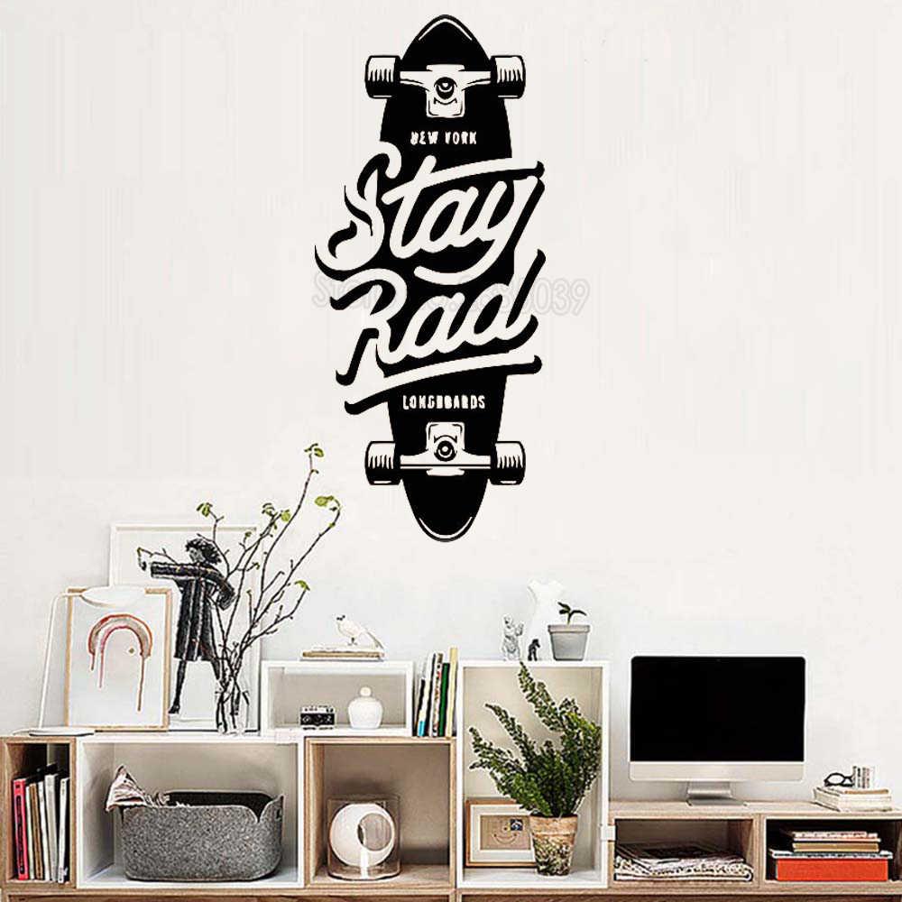 Naik Skateboard Skuter Stiker Dinding Vinyl Decal Anak Laki Laki Kamar Menyenangkan Remaja Kamar Mural Karya Seni Dekorasi Hadiah Yang Unik Wallpaper Modern Lc165 Vinyl Decal Wall Stickersticker Vinyl Aliexpress