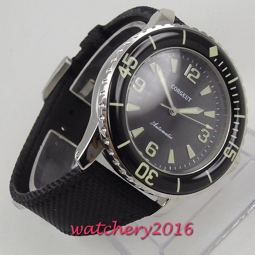 Us 97 75 15 Off Corgeut Automatic Diver Watch Super Luminous Miyota Metal Mechanical Fabric Watches Black Dial Top Brand Best Cheap Sale In
