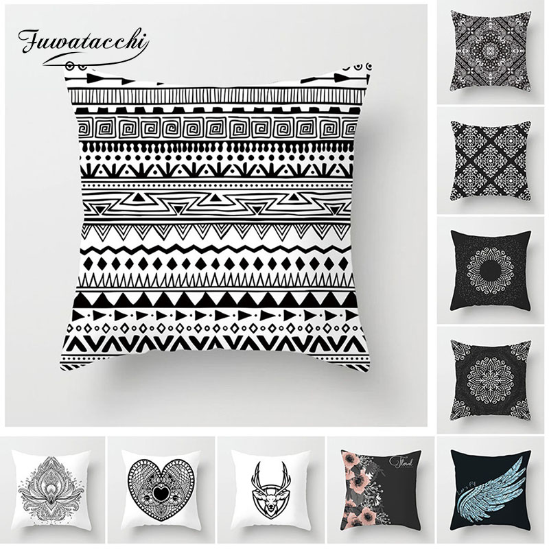 Fuwatacchi Retro Pattern Style Cushion Cover Flower Deer Pillow Case Home Decorative White and Black Pillows For Sofa Seat