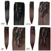 Radość i uroda 24 cali 22 klipy 6 sztuk/zestaw Silky prosto syntetyczna włosy clip in Hairpiece odporne na ciepło dla kobiet włosy clip in