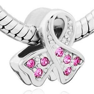 Rutsche charme Freies verschiffen brustkrebs pink ribbon-shaped strass charme perlen fit Pandora armband