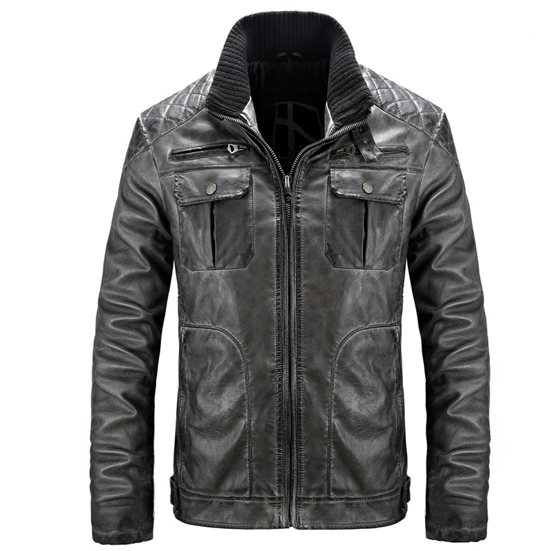 2018 Spring Autumn New Motorcycle Men Leather Jackets Jackets And Coats High Quality Loose Vintage Jacket Cuir Homme