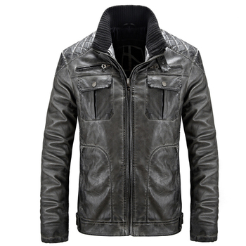 2019 Spring Autumn New Motorcycle Men Leather Jackets And Coats Loose Vintage Men Leather Coat