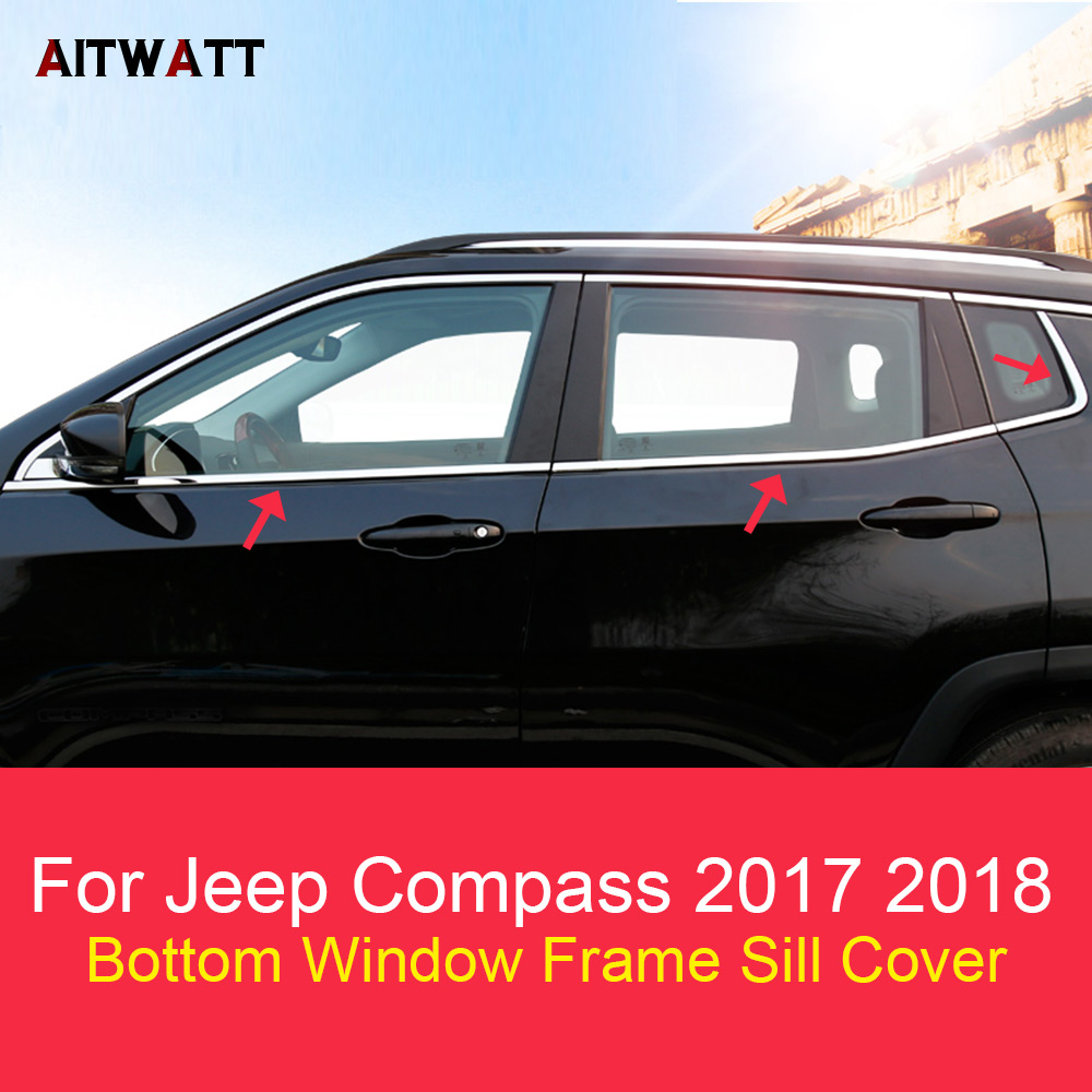 For Jeep Compass 2017 2018 Exterior Stainless Steel Bottom Window Sill Down Trims Cover Frame Car Accessories 6Pcs AITWATT