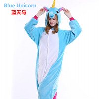 Christmas Halloween Blue Pink Unicorn Onesie Carnival Costumes For Adults Women Fleece Party Pajamas Dresses Sleepwear