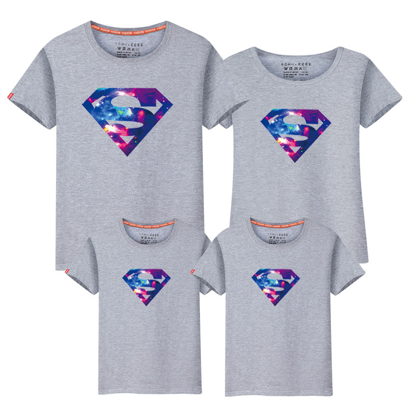 New Family Look Superman T Shirts 14 Colors Summer Family costumes Matching Clothes Father