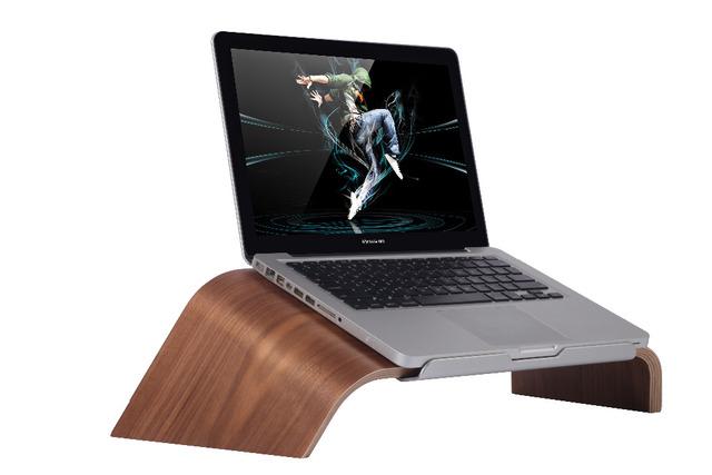 Original novo Samdi Inclinada Suporte De Madeira de Bétula + Aluminlum Riser Titular Suporte De Madeira Laptop para Macbook HP Dell Notebook Escuro marrom