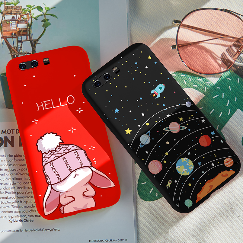 Asina Cute Cartoon Case For Huawei P10 Silicone Cover Fundas P9 Lite 2017 P20 P Smart Shockproof Coque