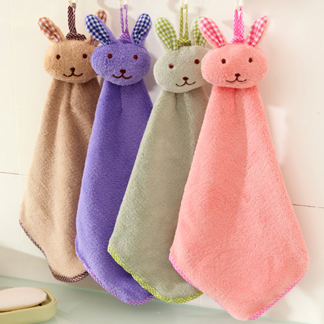 New Baby Infant Coral Velvet Hand Towel Cartoon Animal Rabbit Kitchen Hanging Bath Wipe Towel Washcloths Kids Handkerchief