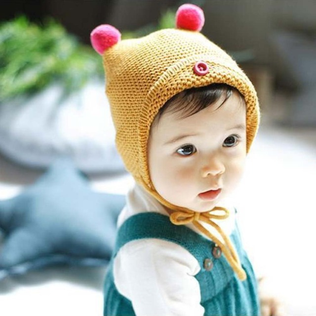 8788258b0c9 New Fashion Baby Boy Girl Autumn Winter Warm Cotton Candy Color Cute Baby  Hat Girl Boy