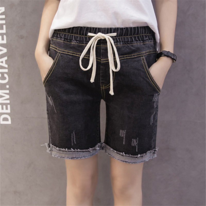 2017 New Fashion Summer Denim Shorts Women Spring Large Size S-5XL Elastic Waist Ripped Jeans Woman Cuffs Cool Blue Short Jeans wangcangli jeans women shorts light blue large size denim fat sister elastic waist mid waist jeans moustache effect summer 4xl
