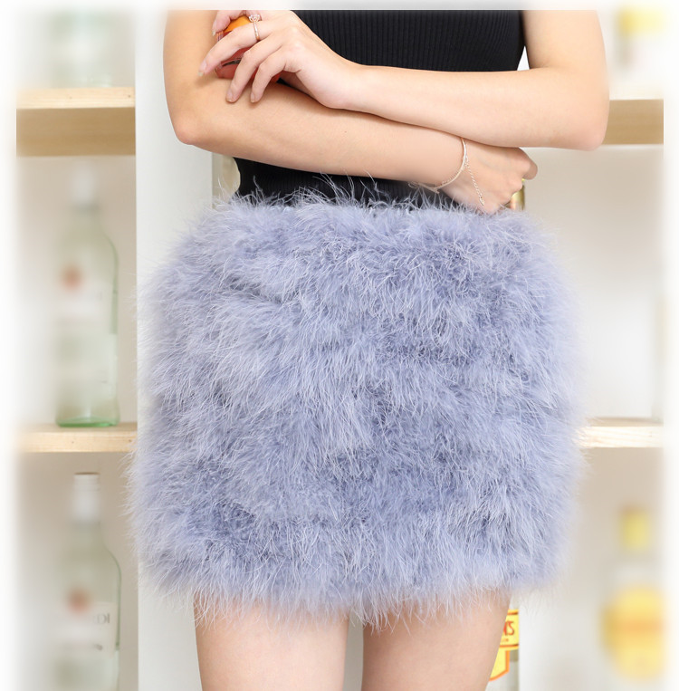 women skirt of natural ostrich feather fur female fashion fur mini skirt blue pink 5 colors warm Plus Size    V21