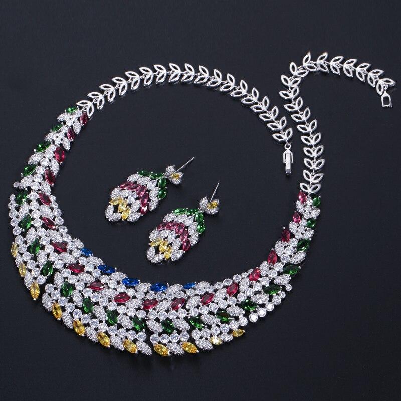 CWWZircons błyszczące wielu kolor cyrkonia duży ciężki naszyjnik dla nowożeńców biżuteria ustaw dla panny młodej suknia ślubna akcesoria T178 w Zestawy biżuterii ślubnej od Biżuteria i akcesoria na  Grupa 3