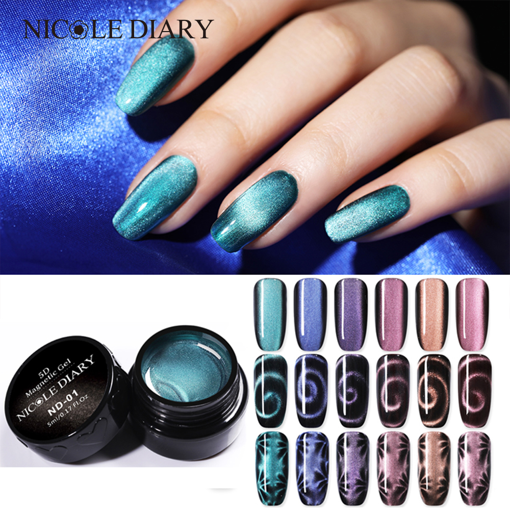 The Nail Art And Beauty Diaries: NICOLE DIARY Magnetic 5D Cat Eye UV Gel Nail Polish Laser