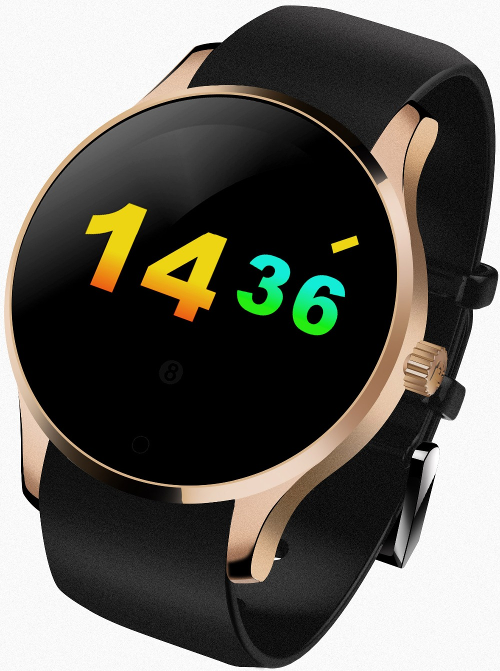 Round Metal font b Smartwatch b font with SIM card Heart Rate Monitor for Android IOS