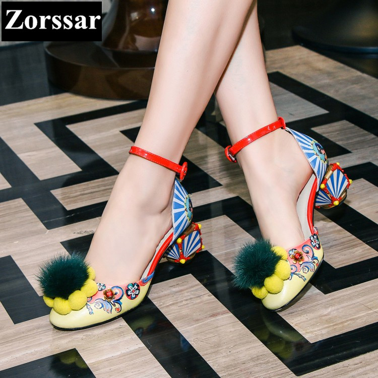 ФОТО Summer shoes woman sandalias mujer zapatos sandale high heels wedding shoes 2017 Fashion fur Ethnic style womens pumps round toe