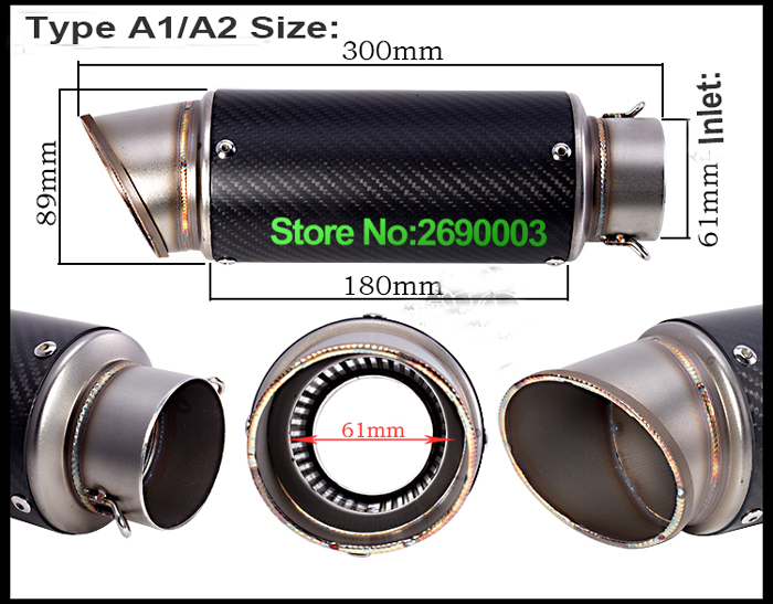 Free Shipping Inlet 61mm Motorcycle Exhaust Pipe With laser Marking Exhaust For large Displacement Motorcycle Muffler SC Sticker free shipping carbon fiber id 61mm motorcycle exhaust pipe with laser marking exhaust for large displacement motorcycle muffler