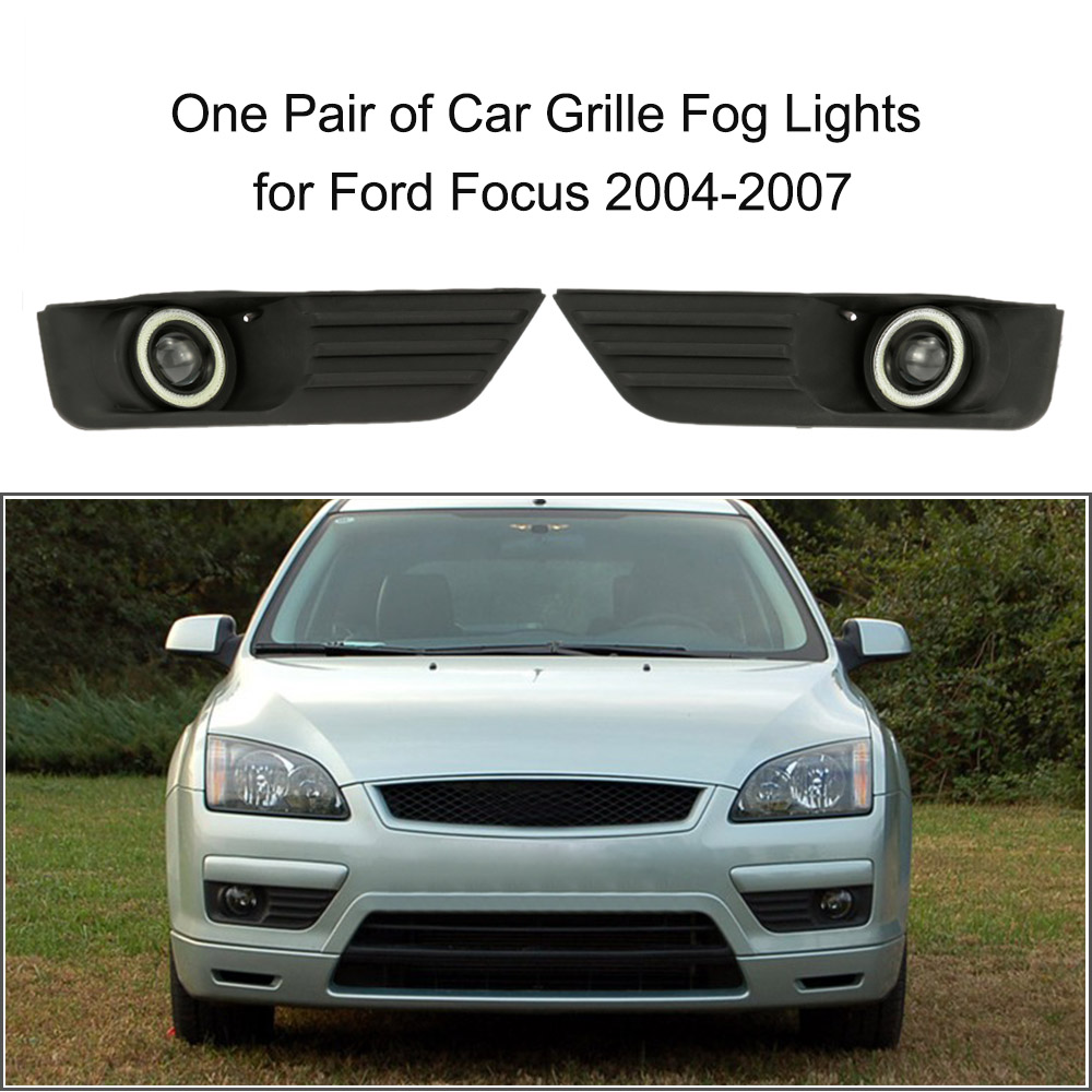 Pair of Car Lower Bumper Grille Fog Lights LED Lamp for Ford Focus 2004-2007 one pair of bumper grille fog lights led lamp with wiring switch kit for mitsubishi lancer 2008 2014