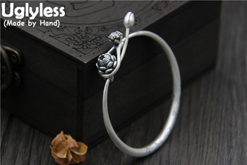 Uglyless Real S999 Silver Fine Jewelry for Women Ethnic Handmade Lotus Bangles Openable Design Flower Retro Bangle Carved Bijoux