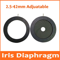 1pc 2.5-42mm Adjustable Zoom Iris Diaphragm Aperture Condenser for Digital Camera Microscope Concentrator with 18pcs Blades