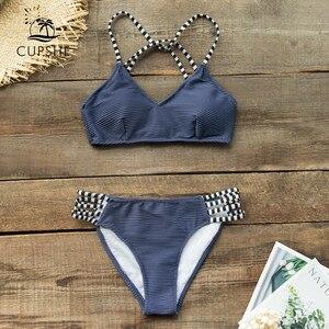 Image 3 - CUPSHE granatowy selera i Strappy Bikini Set Sexy Lace Up strój kąpielowy strój kąpielowy dwuczęściowy kobiety 2019 dziewczyny na plaży kostiumy kąpielowe